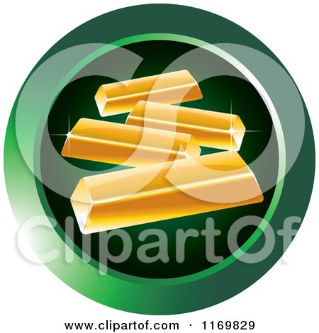Clipart of a Round Green Gold Bar Icon - Royalty Free Vector Illustration by Lal Perera
