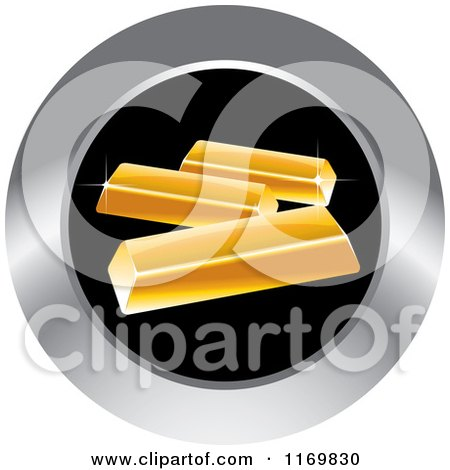 Clipart of a Round Black and Silver Gold Bar Icon - Royalty Free Vector Illustration by Lal Perera