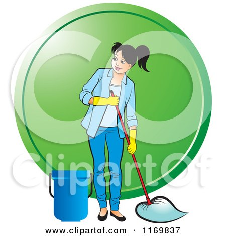 Clipart of a Happy Woman Mopping over a Green Circle - Royalty Free Vector Illustration by Lal Perera