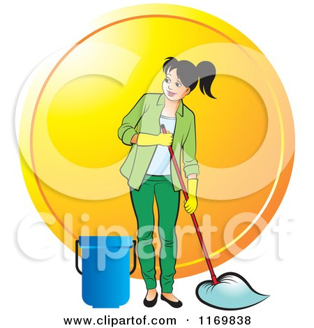 Clipart of a Happy Woman Mopping over an Orange Circle - Royalty Free Vector Illustration by Lal Perera