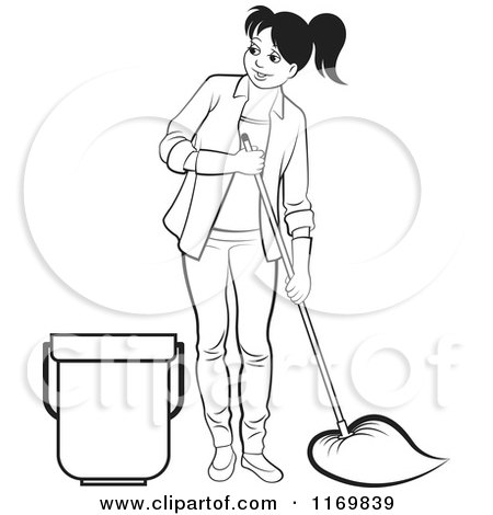 Clipart of a Black and White Happy Woman Mopping - Royalty Free Vector Illustration by Lal Perera