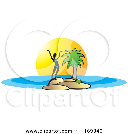 Clipart of a Silhouetted Woman Holding Her Arms up on an Island - Royalty Free Vector Illustration by Lal Perera