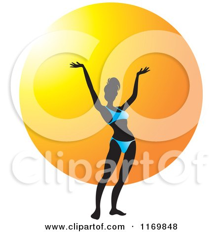 Clipart of a Silhouetted Woman Holding Her Arms up and Wearing a Blue Bikini over a Sun - Royalty Free Vector Illustration by Lal Perera