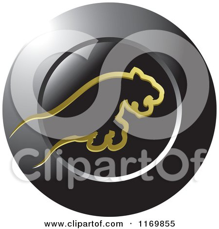 Clipart of a Leaping Gold Tiger over a Black Round Icon - Royalty Free Vector Illustration by Lal Perera