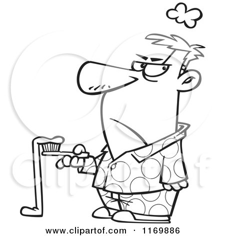 Cartoon of an Outlined Grumpy Man with Bad Toothpaste Hanging off of His Brush - Royalty Free Vector Clipart by toonaday