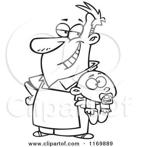 Cartoon Of An Outlined Proud Stay At Home Dad Holding A Baby