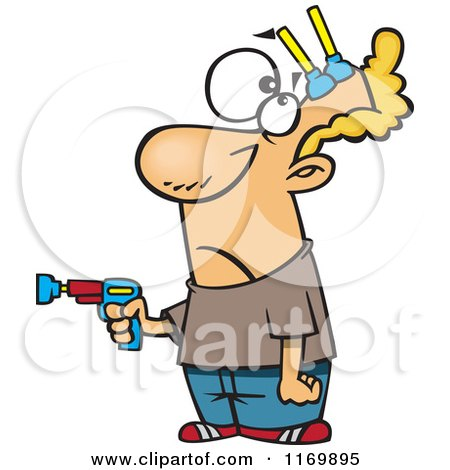 Cartoon of a Man with Nerf Darts Stuck to His Forehead - Royalty Free Vector Clipart by toonaday