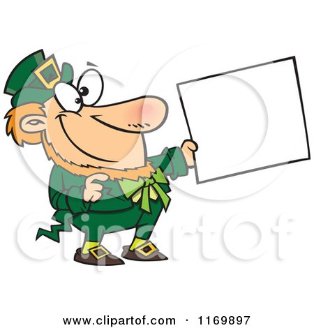 Cartoon Of A Happy St Patricks Day Leprechaun Holding Out A Sign Royalty Free Vector Clipart