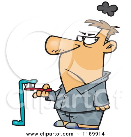 Cartoon of a Grumpy Man with Bad Toothpaste Hanging off of His Brush - Royalty Free Vector Clipart by toonaday