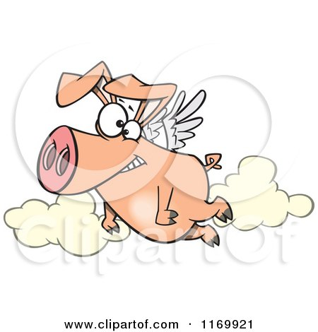 Cartoon of a Happy Pig Flying - Royalty Free Vector Clipart by toonaday