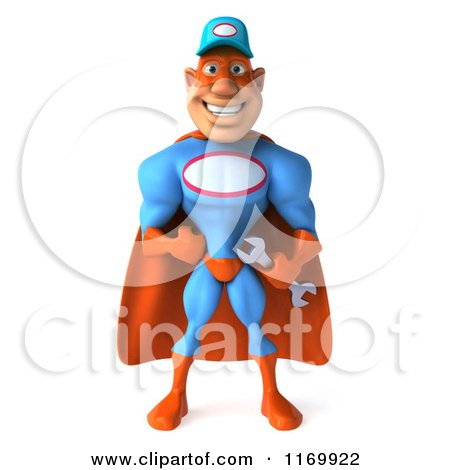Clipart of a 3d Super Hero Mechanic in Red and Blue - Royalty Free CGI Illustration by Julos