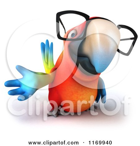 Clipart of a 3d Bespectacled Macaw Parrot Presenting 2 - Royalty Free CGI Illustration by Julos