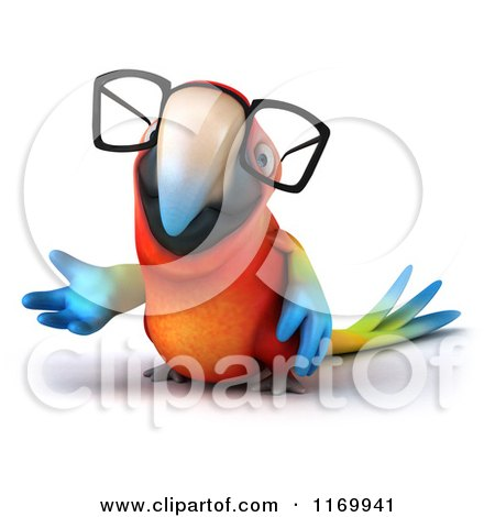 Clipart of a 3d Bespectacled Macaw Parrot Presenting - Royalty Free CGI Illustration by Julos