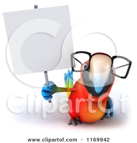 Clipart of a 3d Bespectacled Macaw Parrot Holding up a Sign - Royalty Free CGI Illustration by Julos