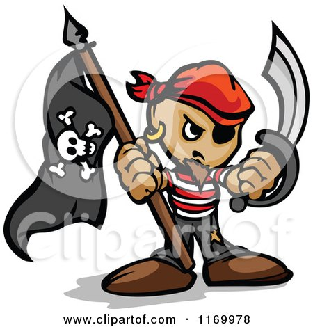 Cartoon of a Tough Pirate Holding a Jolly Roger Flag and Sword in Fisted Hands - Royalty Free Vector Clipart by Chromaco