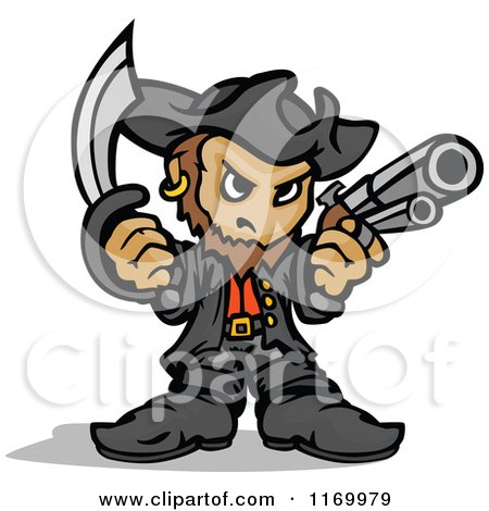 Cartoon of a Tough Captain Pirate Holding a Sword and Pistol in Fisted Hands - Royalty Free Vector Clipart by Chromaco