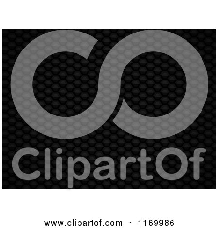 Clipart of a 3d Black Hexagon Mesh Background - Royalty Free Vector Illustration by elaineitalia