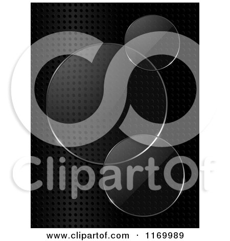 Clipart of Glass Lens Circles on Black Mesh - Royalty Free Vector Illustration by elaineitalia