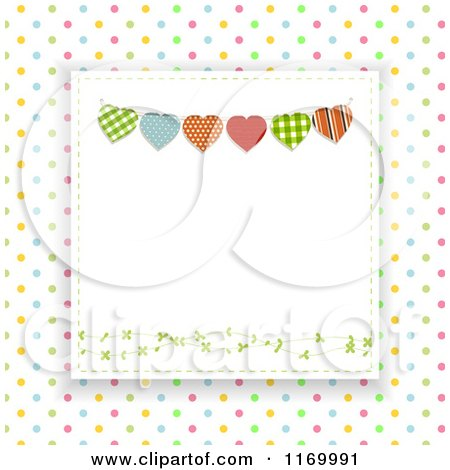 Clipart of a Heart Bunting Square over Colorful Polka Dots - Royalty Free Vector Illustration by elaineitalia
