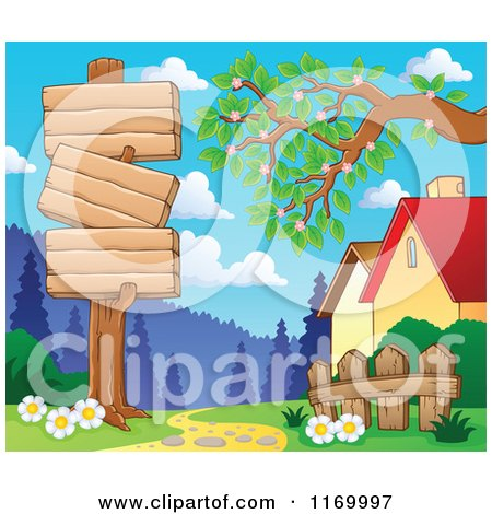 Cartoon of a Wood Sign Post by a Path and Houses - Royalty Free Vector Clipart by visekart