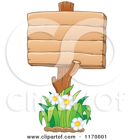 Cartoon of a Wood Sign Post and Daisies - Royalty Free Vector Clipart by visekart