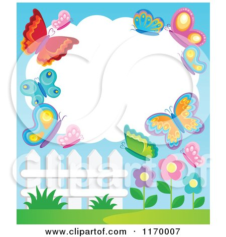 Cartoon of a Cloud Frame with Butterflies over Flowers and a Fence - Royalty Free Vector Clipart by visekart