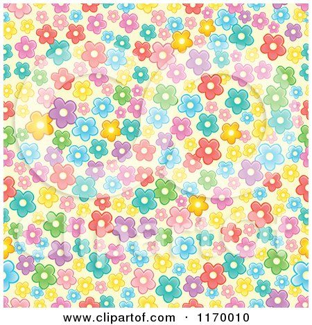 Cartoon of a Seamless Pattern of Colorful Flowers - Royalty Free Vector Clipart by visekart