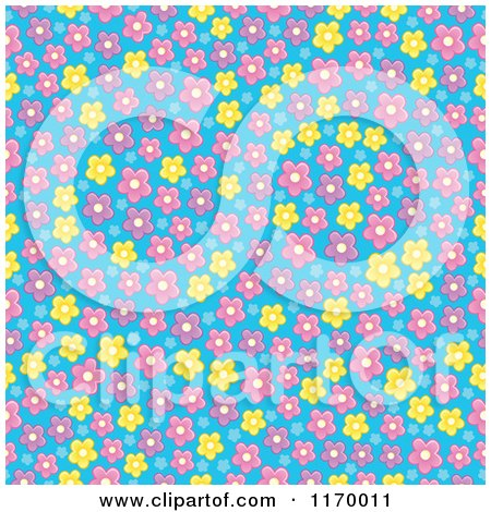 Cartoon of a Seamless Pattern of Pink and Yellow Flowers on Purple - Royalty Free Vector Clipart by visekart
