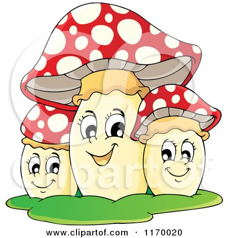 Cartoon of a Trio of Happy Mushrooms - Royalty Free Vector Clipart by visekart