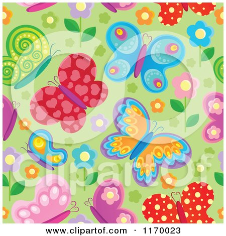 Cartoon of a Seamless Colorful Butterfly Background Pattern over Green - Royalty Free Vector Clipart by visekart