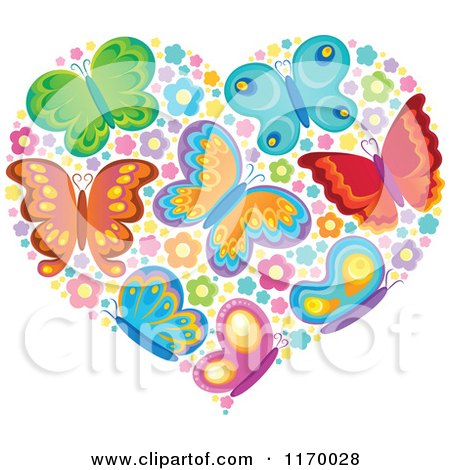 Cartoon of a Heart Made of Butterflies and Flowers - Royalty Free Vector Clipart by visekart