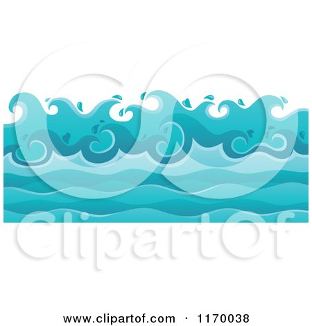 Cartoon of a Background of Ocean Waves - Royalty Free Vector Clipart by visekart