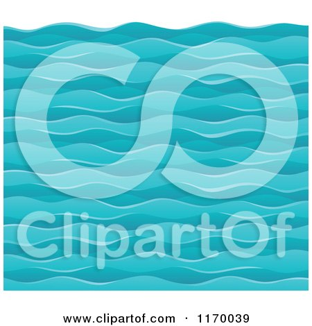 Cartoon of a Background of Choppy Ocean Waves - Royalty Free Vector Clipart by visekart