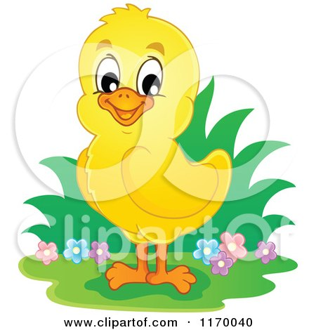 Cartoon of a Happy Cute Yellow Chick - Royalty Free Vector Clipart by visekart