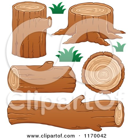 Cartoon of Tree Logs and Stumps - Royalty Free Vector Clipart by visekart