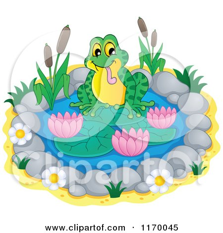 Cartoon of a Frog on a Small Lily Pond - Royalty Free Vector Clipart by visekart