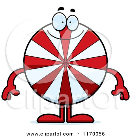Cartoon of a Happy Peppermint Candy Mascot - Royalty Free Vector Clipart by Cory Thoman