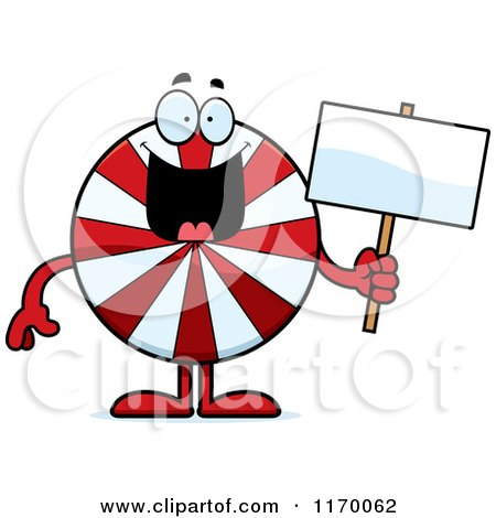 Cartoon of a Happy Peppermint Candy