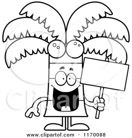 Cartoon of an Outlined Happy Coconut Palm Tree Mascot Holding a Sign - Royalty Free Vector Clipart by Cory Thoman