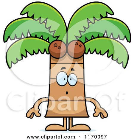 Cartoon of a Surprised Coconut Palm Tree Mascot - Royalty Free Vector Clipart by Cory Thoman