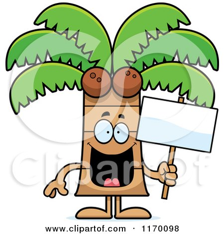 Cartoon of a Happy Coconut Palm Tree Mascot Holding a Sign - Royalty Free Vector Clipart by Cory Thoman