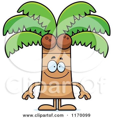Cartoon of a Happy Coconut Palm Tree Mascot - Royalty Free Vector Clipart by Cory Thoman
