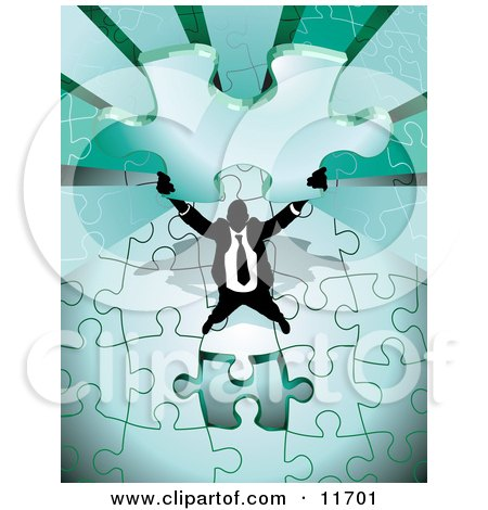Proud, Successful Businessman Holding up the Last Piece of a Green Jigsaw Puzzle Before Completing it Posters, Art Prints