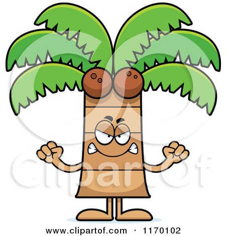 Cartoon of a Mad Coconut Palm Tree Mascot - Royalty Free Vector Clipart by Cory Thoman