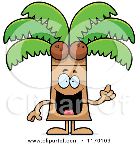 Cartoon of a Smart Coconut Palm Tree Mascot with an Idea - Royalty Free Vector Clipart by Cory Thoman