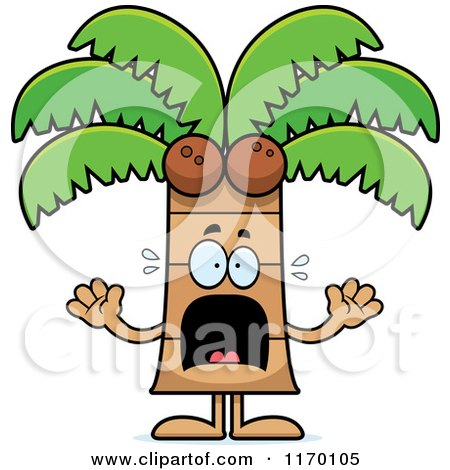 Cartoon of a Scared Coconut Palm Tree Mascot - Royalty Free Vector Clipart by Cory Thoman