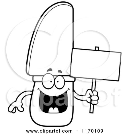 Cartoon of an Outlined Happy Knife Mascot Holding a Sign - Royalty Free Vector Clipart by Cory Thoman