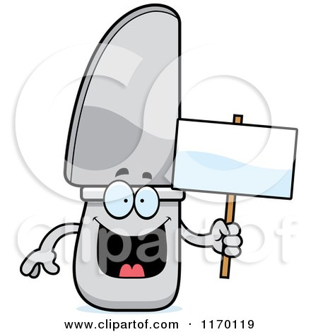 Cartoon of a Happy Knife Mascot Holding a Sign - Royalty Free Vector Clipart by Cory Thoman