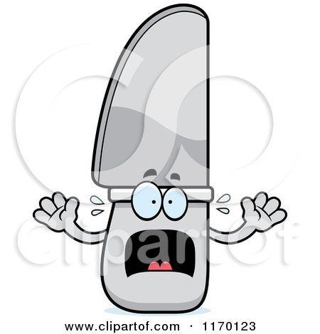 Cartoon of a Screaming Knife Mascot - Royalty Free Vector Clipart by Cory Thoman
