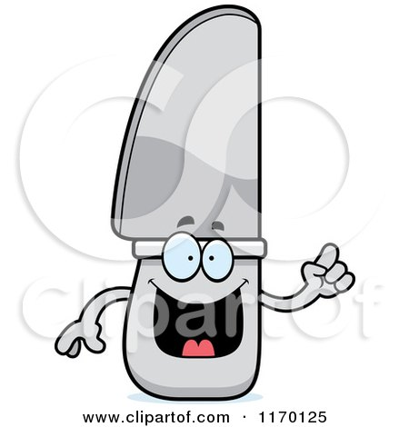 Cartoon of a Smart Knife Mascot with an Idea - Royalty Free Vector Clipart by Cory Thoman